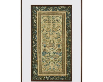 19th Century Chinese Silk Embroidery Panel