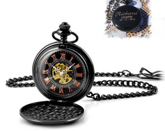 Hand-Wind Up Mechanical Pocket Watch , Groomsmen Gift , Engraved Mens Pocket Watch ,Steampunk pocket watch, personalized pocket watch