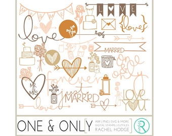 One and Only Set: Photoshop Brushes, Digital Cut Files & Clip Art