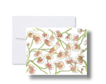 Pinky Floral Note Card