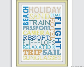 Holiday Vacation Typography Cross Stitch Pattern