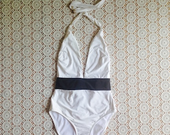 black and white swimming suit/90's swimming suit/minimalist swimming suit/one piece swimming suit/high waisted swimming suit/s/m