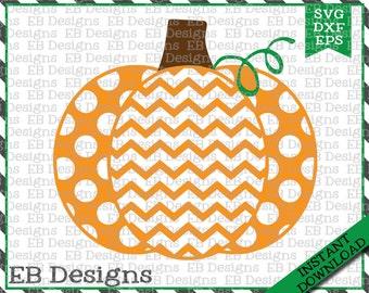 Chevron Polka Dot Pumpkin Cut File (SVG, EPS and DXF)