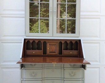 Secretary, Desk, French Country Display Cabinet, Hand Painted Hutch