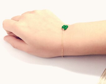 Green natural Chalcedony 14K gold chain bracelet