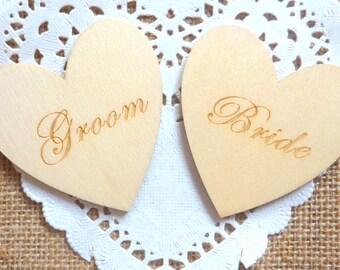 Set of 2 Wooden Laser Printed 'Bride and Groom' Hearts Embellisments 6cm