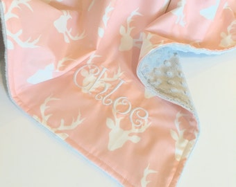 New Designer Deer Print Minky Baby Blanket
