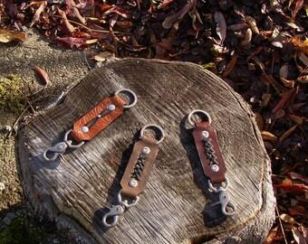 Keychain leather, men, women, host gift, handmade in the Canada