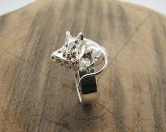 Gold mouse ring Silver mouse ring Mouse eating cheese ring Sterlin Silver