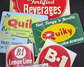 Vintage B-1 and Quicky Soda Pop Decals