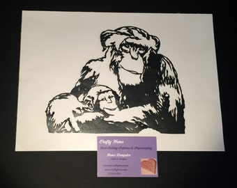 Papercutting Template - Cheeky Monkeys - JPEG - resizable - cut your own papercut - commercial rights included -  Instant Download