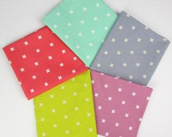 10% OFF - Neon Pastel XOXO Basics by Cotton+Steel Fabrics Cotton Fabric Fat Quarter Bundle - 5 Fabrics