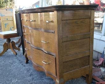 Oak Serpentine Chest/ Dresser