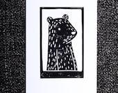 Black Bear Portrait - Unique 1-Colour Linoprint