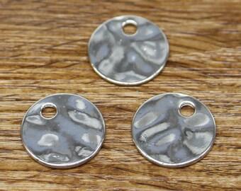 15pcs Blank Disc Charm Antique Silver Tone Necklace Pendant 19x19mm 2110