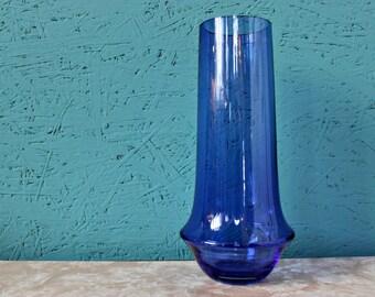 Tall Blue Riihimaki / Riihimaen Lasi Oy Vase by Tamara Aladin