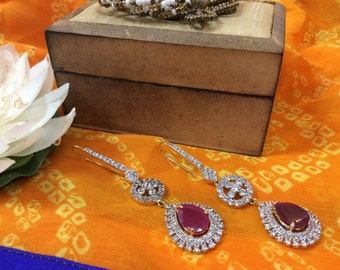 American Diamond Earrings with Ruby