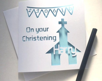 Christening card, card for christening, personalised christening card, personalised christening, customised christening, card for baptism