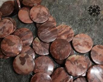 30mm Natural Red Zebra Jasper Stone - Round Coin Beads - 6mm Thick - QTY 6 - Half Strand - Stone Creek Supply - 142024