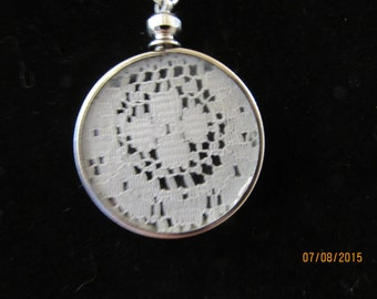 Antique Lace Pendant with Silver Plate Chain