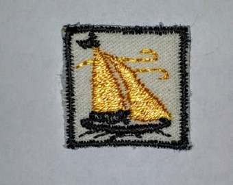 Cute Vintage Handmade Sailboat Patch ( 1970's)