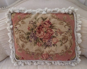 Vintage French Shabby Chic Aubusson Pink Roses Pillow Romantic Paris Decor