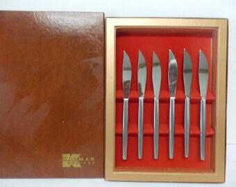 Kalmar Designs Italy Stainless Steak Knife Set of 6 in Original Box
