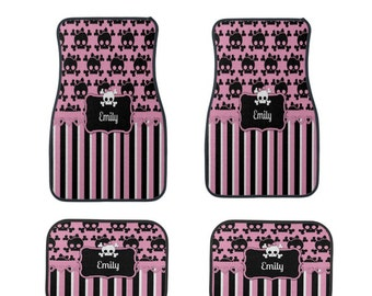Sugar Skull Car Mats Pink Black Personalized Custom With Your Name Great Gift FULL set Car Accessories