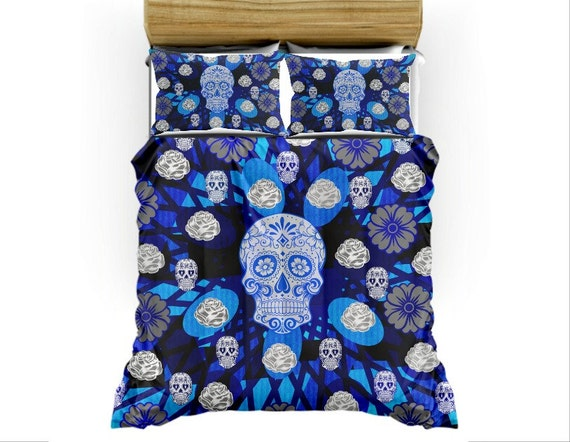 Blue Sugar Skull Duvet Cover Set Skull Bedding By FolkandFunky