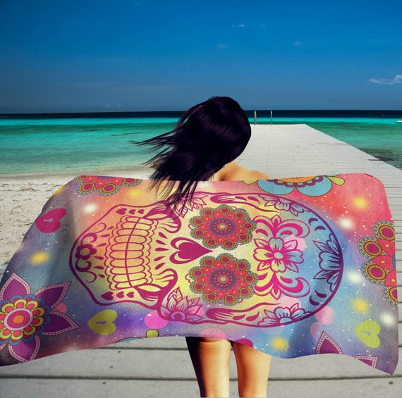 Sugar Skull Beach Towel , Oversized 36 in x 72 in