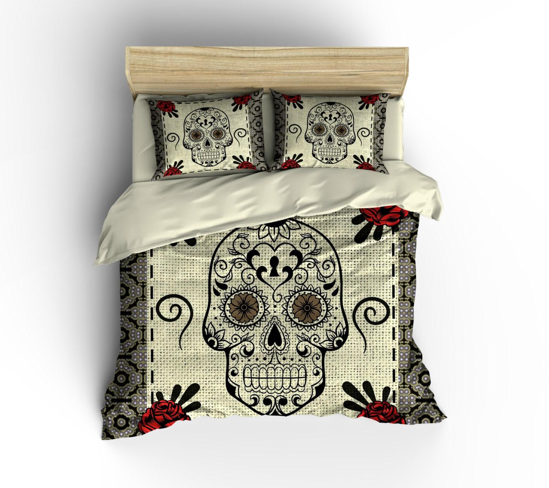 Sugar Skull Duvet Cover Skull Bedding Tan Red Roses Mosaic