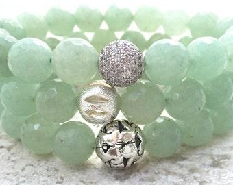 Green Aventurine Beaded Bracelet- Aventurine Gemstone Bracelet- Women's Green Bracelet- Prosperity Bracelet- Mothers Day Gift- Graduation