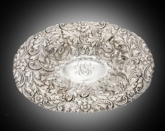 Wm B Durgin sterling repousse dish bowl