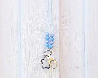 Ladies ID Badge holder, Nurse Lanyard, Phone lanyard, Blue Necklace, Beaded Lanyard with lobster clasp, iphone case lanyard, cover holder