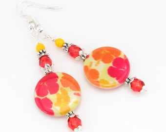 Happy Hibiscus Red and Yellow Earrings, Summer Earrings, Vacation Jewelry, Resort Jewelry, Beach Earrings