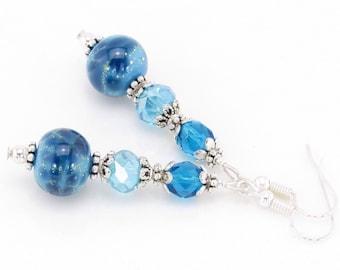 Snow Princess Lampwork Glass Earrings, Blue Dangle Earrings, Blue Beaded Earrings, SRA Lampwork Glass