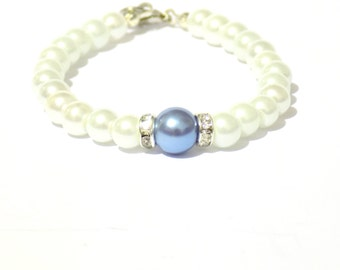 White and light blue pearl bracelet, white pearl bracelet, light blue pearl bracelet, beaded bracelet, bridesmaid bracelet, bridal bracelet