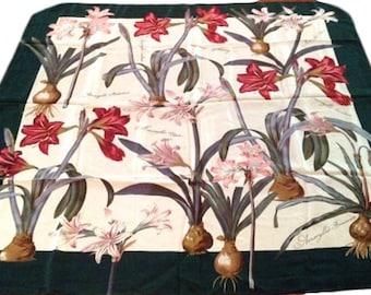 Saldarini Floral Amaryllis Silk Scarf
