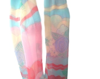 "Echo Vintage Rainbow Floral Summer Scarf - 68"" x 15"""