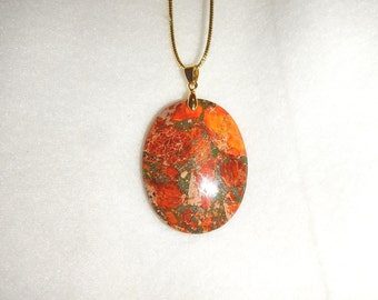 Oval Orange Sea Sediment Jasper with Pyrite pendant necklace (JO420)