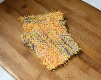 Knit Dish Scrubbie, Set of 2, Kitchen Dish Scrubbies, Yellow Knit Dish Scrubbie, Knit Dish Cloth, Knit Scrubbie Wash Cloth