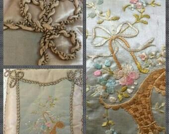 French Silk Vintage Handkerchief Pillow, Beautiful Needlework