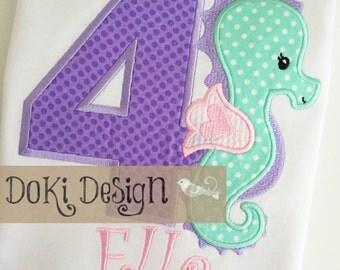 Seahorse Birthday Girls Ruffle Shirt