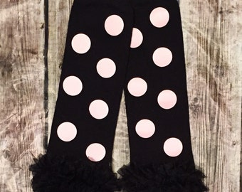 Baby Leg Warmers, Pink and Black Leg Warmers, Baby Leggings, Leg Warmers, Polka Dot Leg Warmers