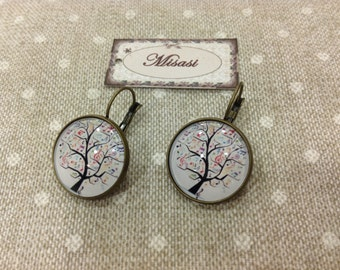 Music earrings, tree with musical notes, 20 mm.