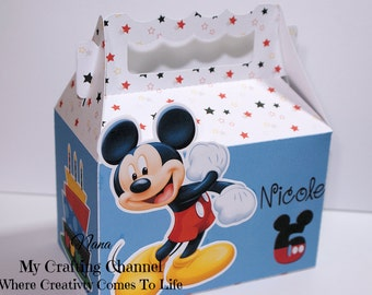 Personalized Mickey Mouse Birthday Treat Boxes--Mickey Mouse-Birthday Treat Boxes-Classroom Party Boxes-Birthday