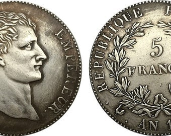 1803 Napoleon, 5 Franc French COPY, the Emperor huge coin struck by the French Republic