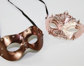 Classic Rose Gold Couples Mask Set, Venetian Masquerade Mask, Phantom of the Opera Inspired, Mardi Gras, Wedding, Prom LTM004RG+K2001RG