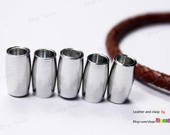 3 sets 5mm Round Hole Silver Magnetic Clasp for Bracelet MT5M-527
