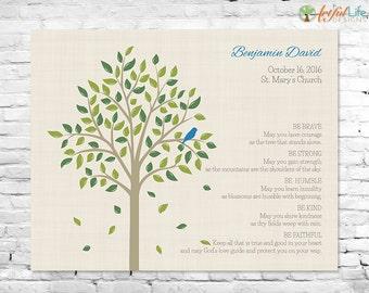 CHRISTENING BAPTISM GIFT, Baptism Tree Keepsake Print, Gift for Godchild, Godson, Goddaughter, Be Brave Nursery Wall Art, Nursery Decor